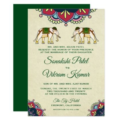 Traditional Elephants Indian Wedding Invitation Invitations Cards Custom Card Design Marriage Party