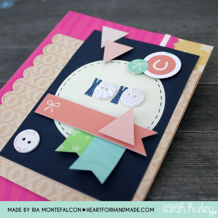 Combining Buttons, shapes, and  pattern papers  from Sarah Hurley A Few of my Favourite Things and Documented365 kits