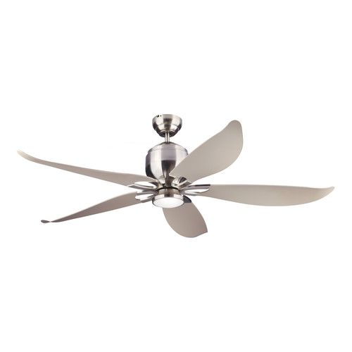 Monte carlo lily brushed steel outdoor ceiling fan with light remote control zonhunt