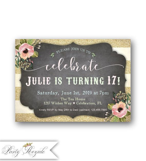 Pastel 17th Birthday invitations for girls / Teen's 17th
