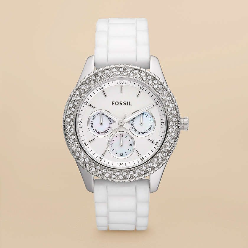 b2b84266ad01 FOSSIL® Watch Collections Stella Watches Women Stella Silicone Watch -  White ES3001