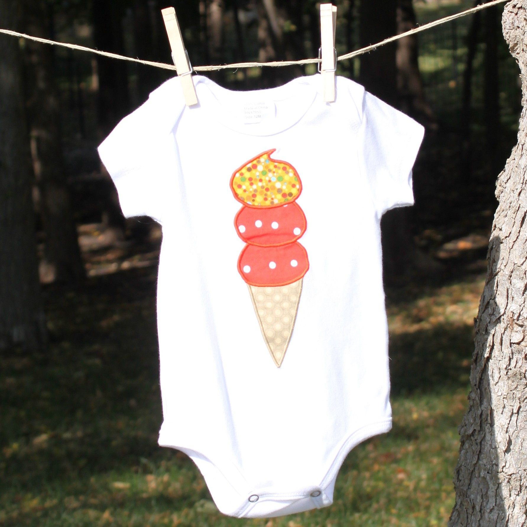 Baby cotton onesie ice cream cone 26 onesies