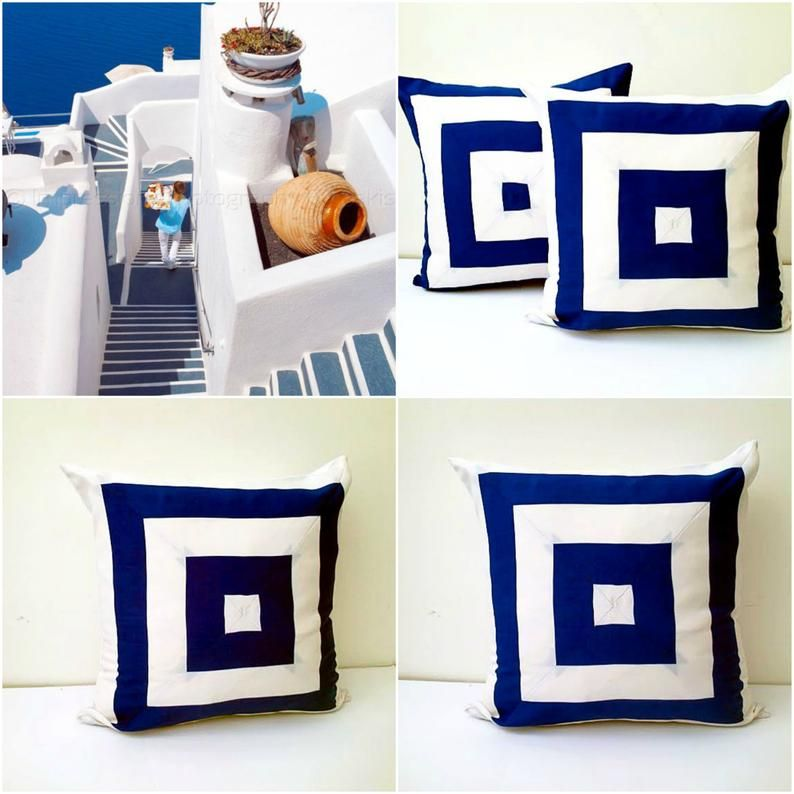Navy Blue And White Throw Pillow Cover Square Design Cushion