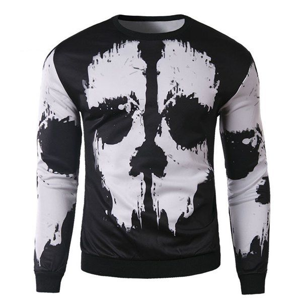 dbdc94954e02  16.79 Trendy Round Neck 3D Abstract Print Slimming Long Sleeve Cotton  Blend Black and White Sweatshirt For Men - White And Black