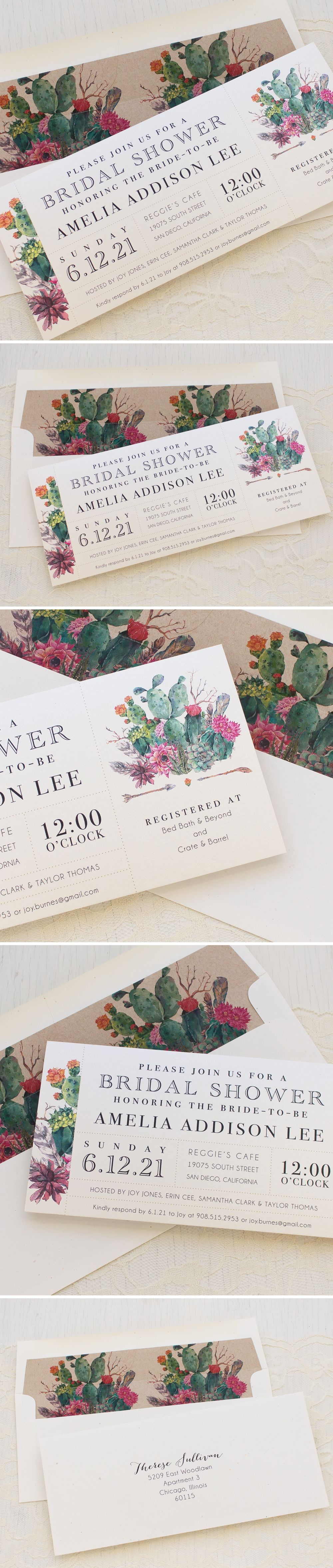 Desert Blooms Bridal Shower Invitations Brunch Invitations Bridal