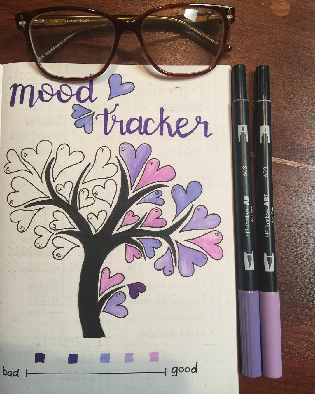 Bullet journal monthly mood tracker tree with heart shaped leaves