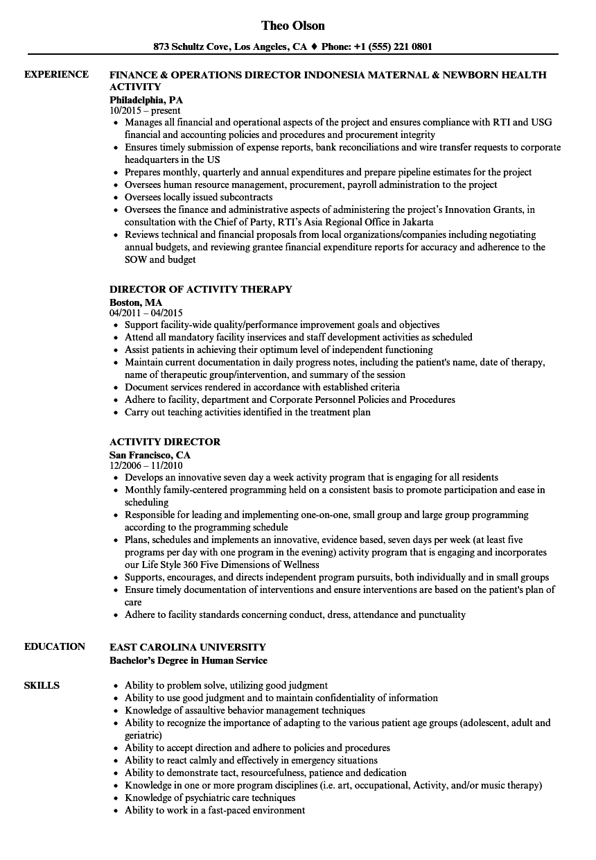 Resume Examples Activities Sales resume examples