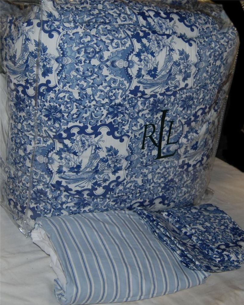 ralph lauren porcelain blue king comforter set new 1st quality