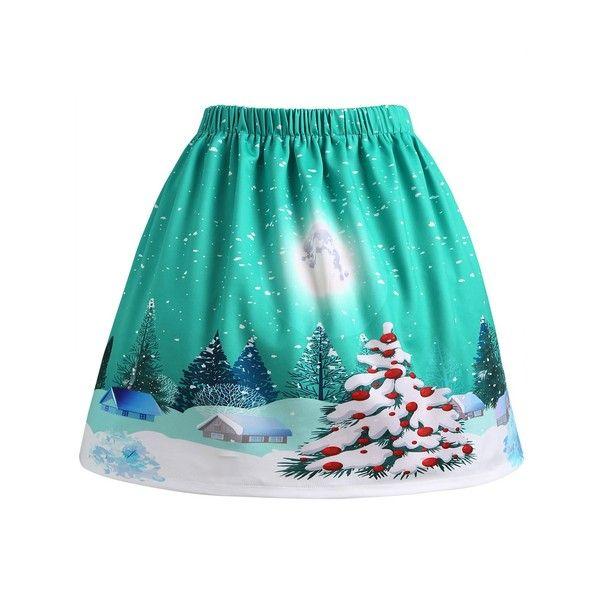 Green 5xl Christmas Moon Tree House Print Plus Size Skirt 12 Liked On