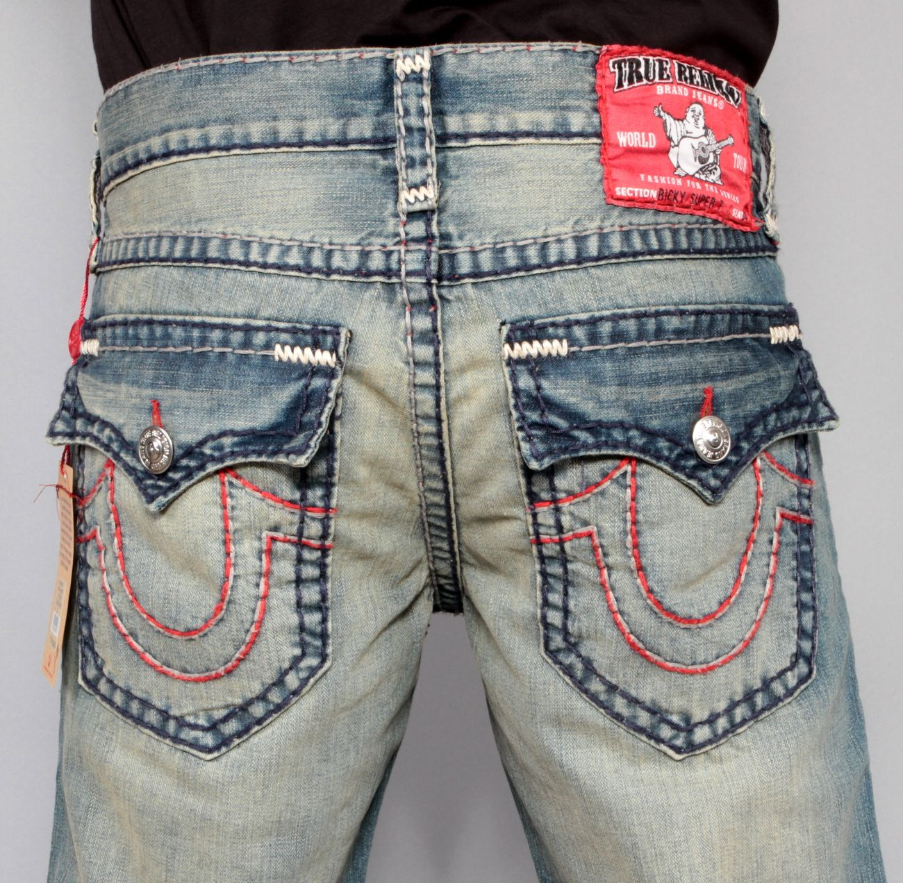 7bc549619 Red True Religion Jeans With White Stitching