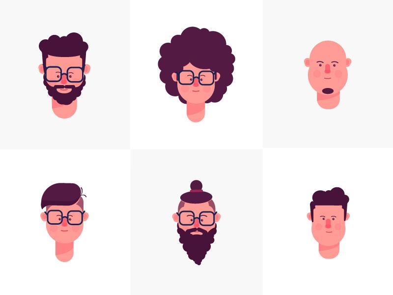 Faces Character Flat Design Vector Character Design Illustration Design