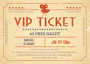 druckvorlage 39 vip ticket retro 39 bei wunschblatt selber. Black Bedroom Furniture Sets. Home Design Ideas