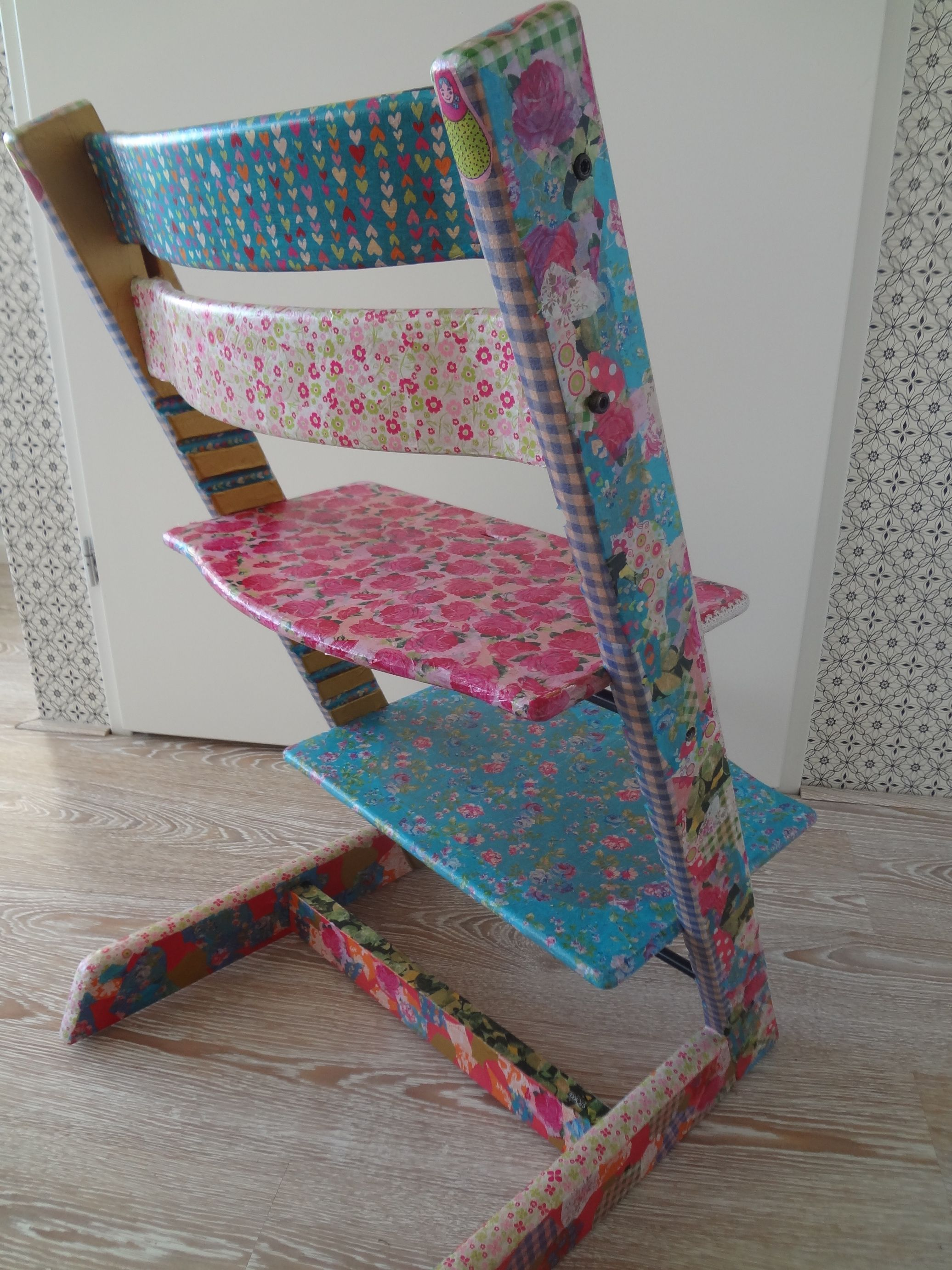 HighChair Tripp Trapp Stokke Restyled With Decopatch