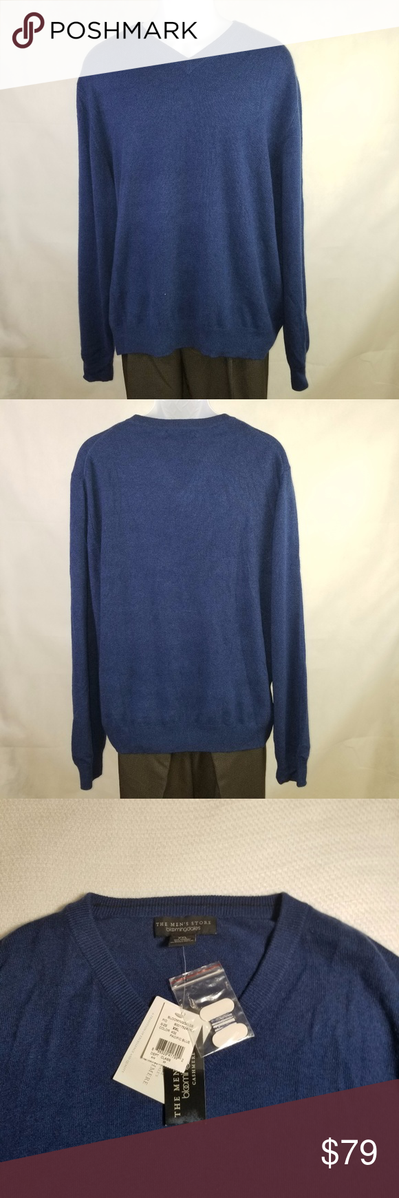 Bloomingdale's Men Sweater 100% Cashmere Size XXL | Pacific blue ...