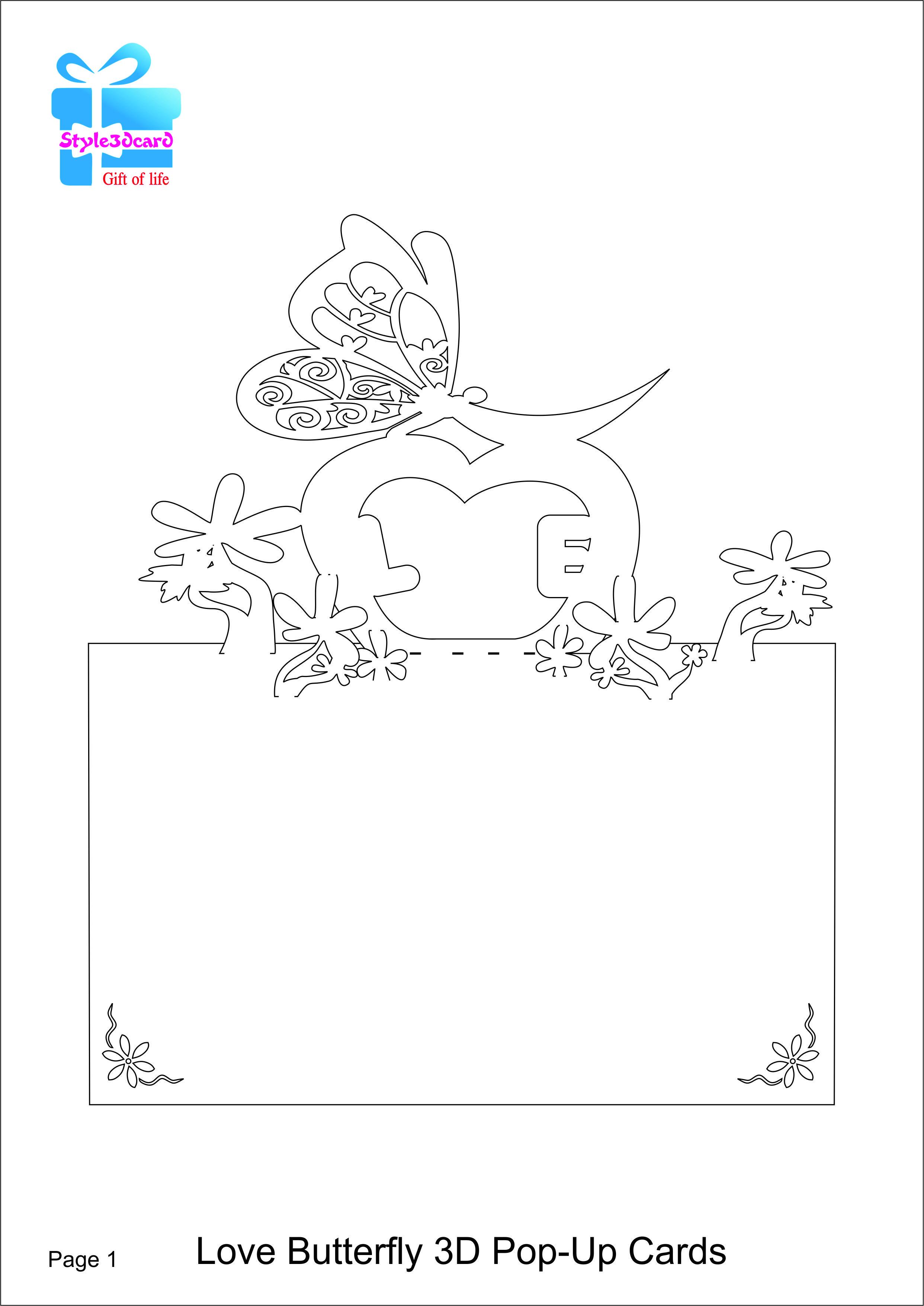 Love Butterfly 3D Pop-Up Card/kirigami pattern 1 | Pop-up ... - photo#17