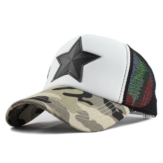 13248216c1c58 Unisex hat camo camouflage star trucker style mesh snapback athletic  baseball ca