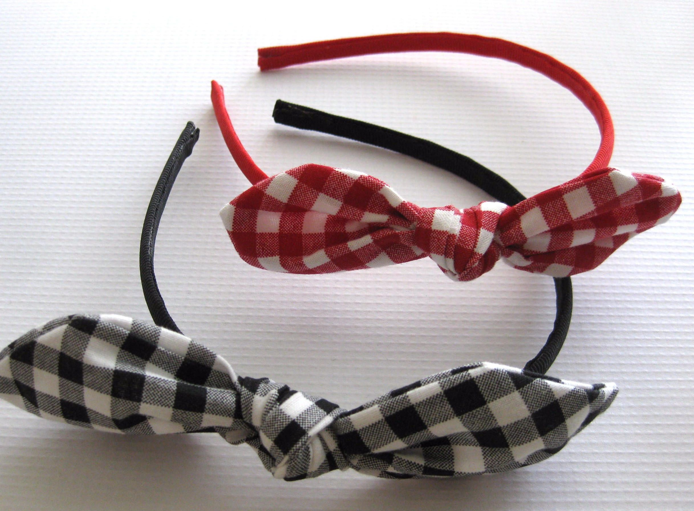 Custom Order - Gingham Knot Hard Headband - Toddler Headband - Hair Bows for Girls - Knot Bow Headbands - Black, Red and White Knot Bow by GhinesCreations on Etsy