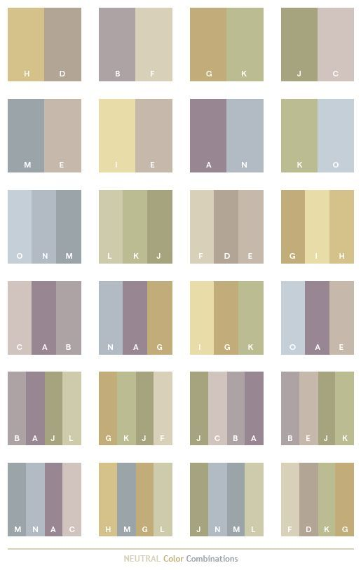 Neutral color schemes, color combinations, color palettes for print (CMYK)  and Web