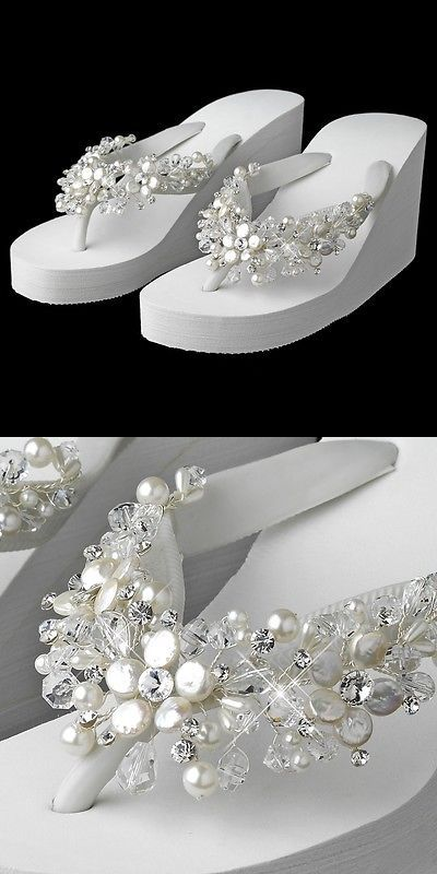 f03ec4886 Wedding Shoes And Bridal Shoes  White Crystal And Freshwater Pearl Wedge  Beach Wedding Bridal Flip Flop Sandals BUY IT NOW ONLY   129.95