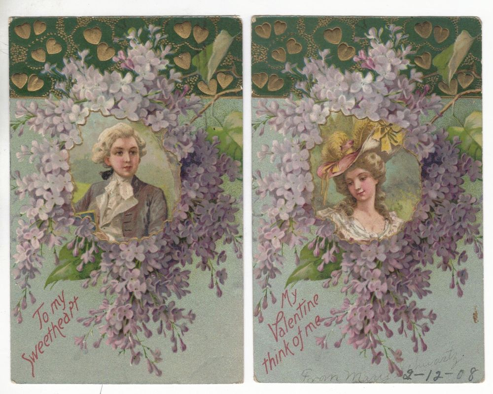 2 Set? Forget Me Not Flower Man, Woman Valentines Greeting Antique P.C. N1977