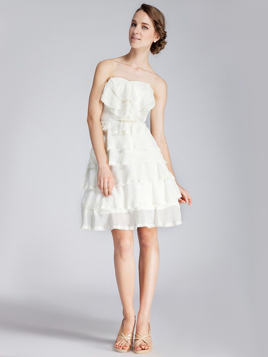 Strapless layered lace little white dress 169 usd lovely for strapless layered lace little white dress 169 usd lovely for bridesmaids ombrellifo Image collections