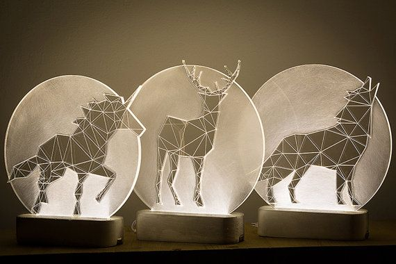 Full Moon Deer Lamp Christmas Decoration Lamp Led Stag Nightlight Concrete Fawn Lamp Animal Decorative Lamp Woodland Themed Lamp W 2019 Rzemioslo I Lampy