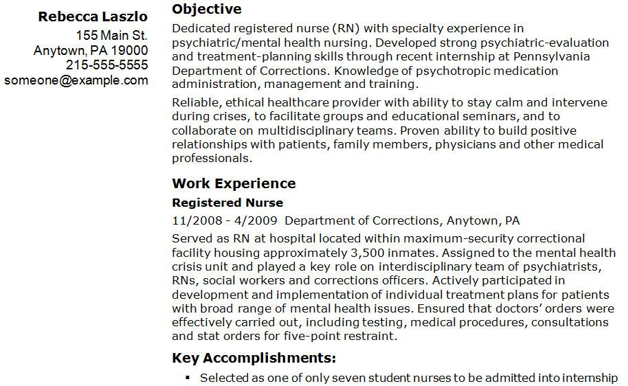 Sample Registered Nurse Resume Example