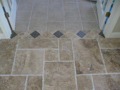 Opus Romano Pattern Tile Room Transition Ceramic Tile Floor
