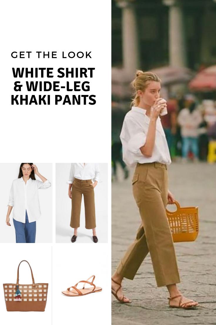 Get the look: white shirt and wide-leg khaki pants - Cheryl Shops