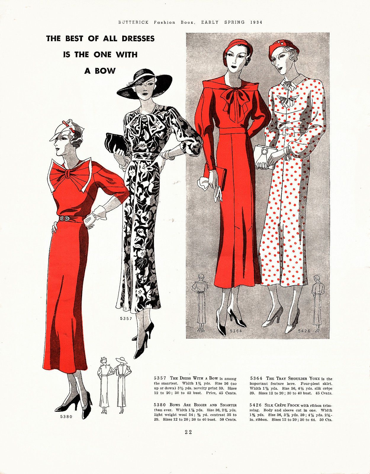 dc6f94f28726ba Butterick Fashion Book, Early Spring 1934 featuring Butterick 5380, 5357,  5364 and 5426