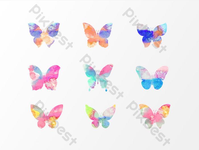 مرسومة باليد عناصر تصميم الفراشة الملونة صور Png Ai تحميل مجاني Pikbest Butterfly Design Colorful Butterflies Floral Wreath