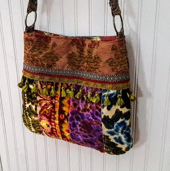 Stoffen Hippie Tas : Vintage gesneden fluweel boho tas velours en wandtapijten