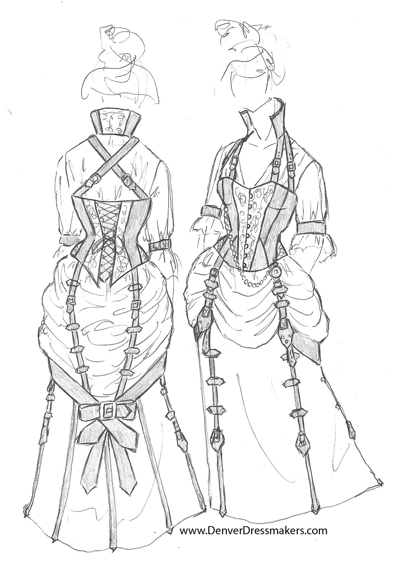 Denver Dressmakers Sketch For A Client Of A Steampunk Bustle