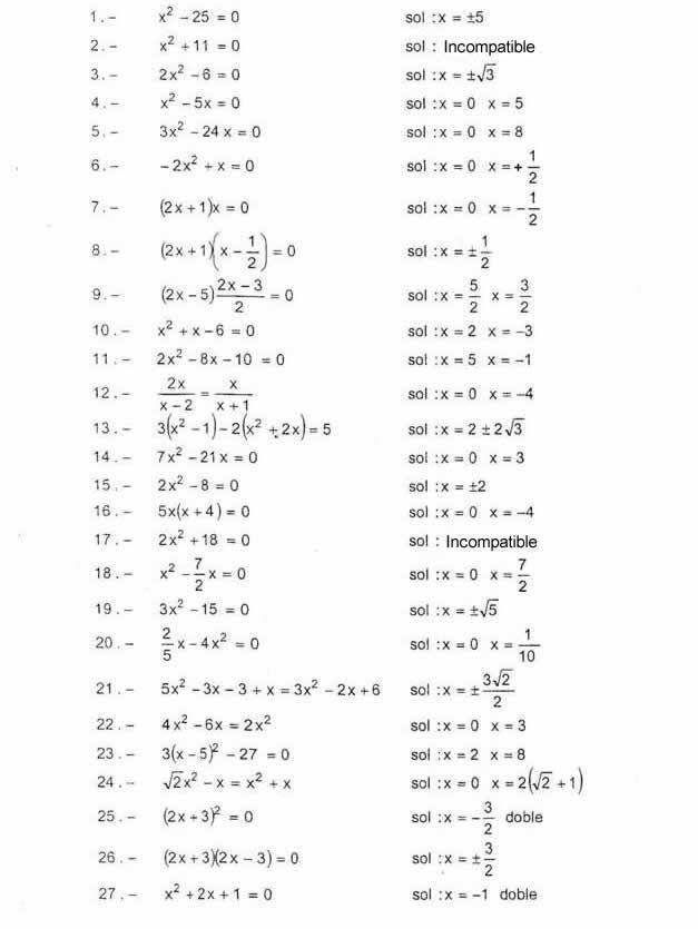 Ejercicios De Ecuaciones De 2º Grado Completas E Incompletas Ecuaciones Cuadraticas Matematicas Avanzadas Ecuaciones