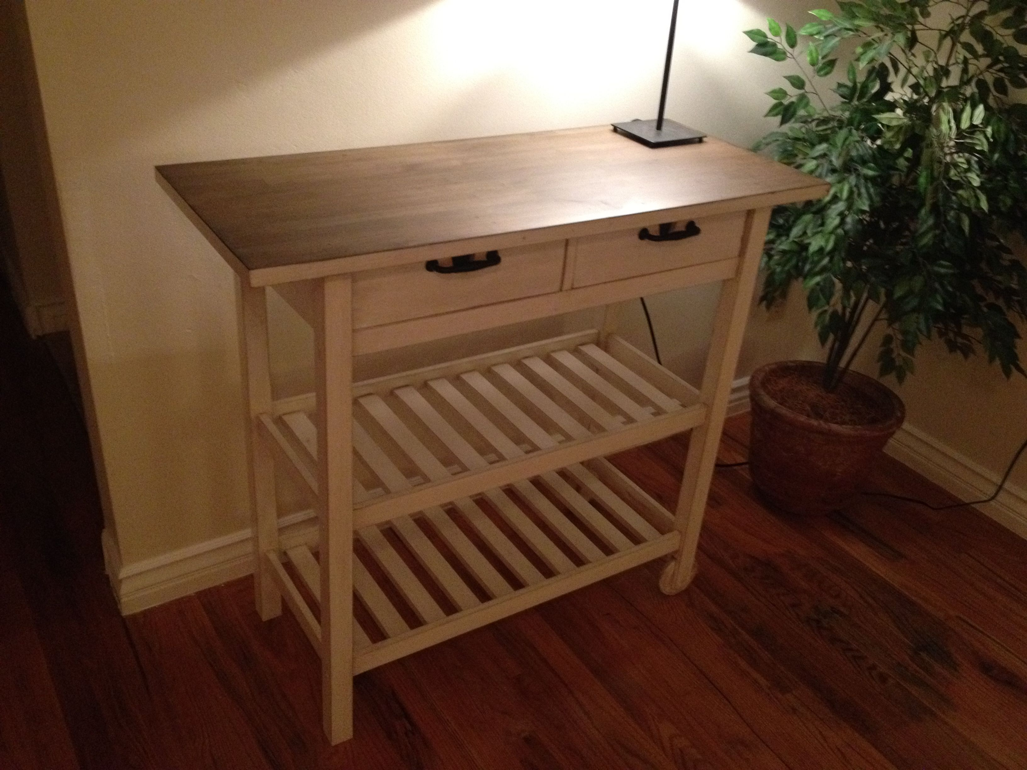 Ikea kitchen cart painted - Diy Ikea Kitchen Cart With White Paint Then Stained With Antique Glaze