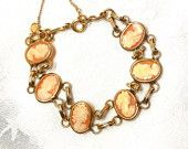 vintage Cameo 12K gold plated Bracelet marked PPC Elegant Timeless Collectible Bride Mother Graduation