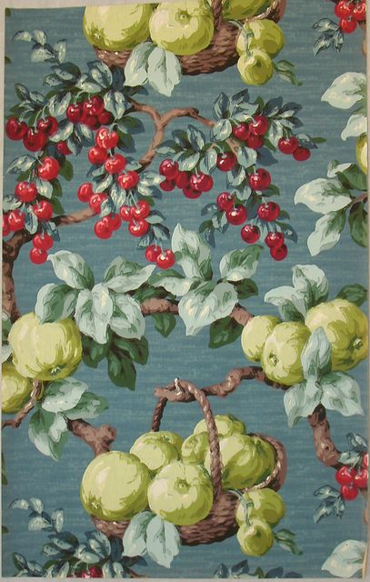 Fruit covered French wallpaper, ca. 1930 | French ...