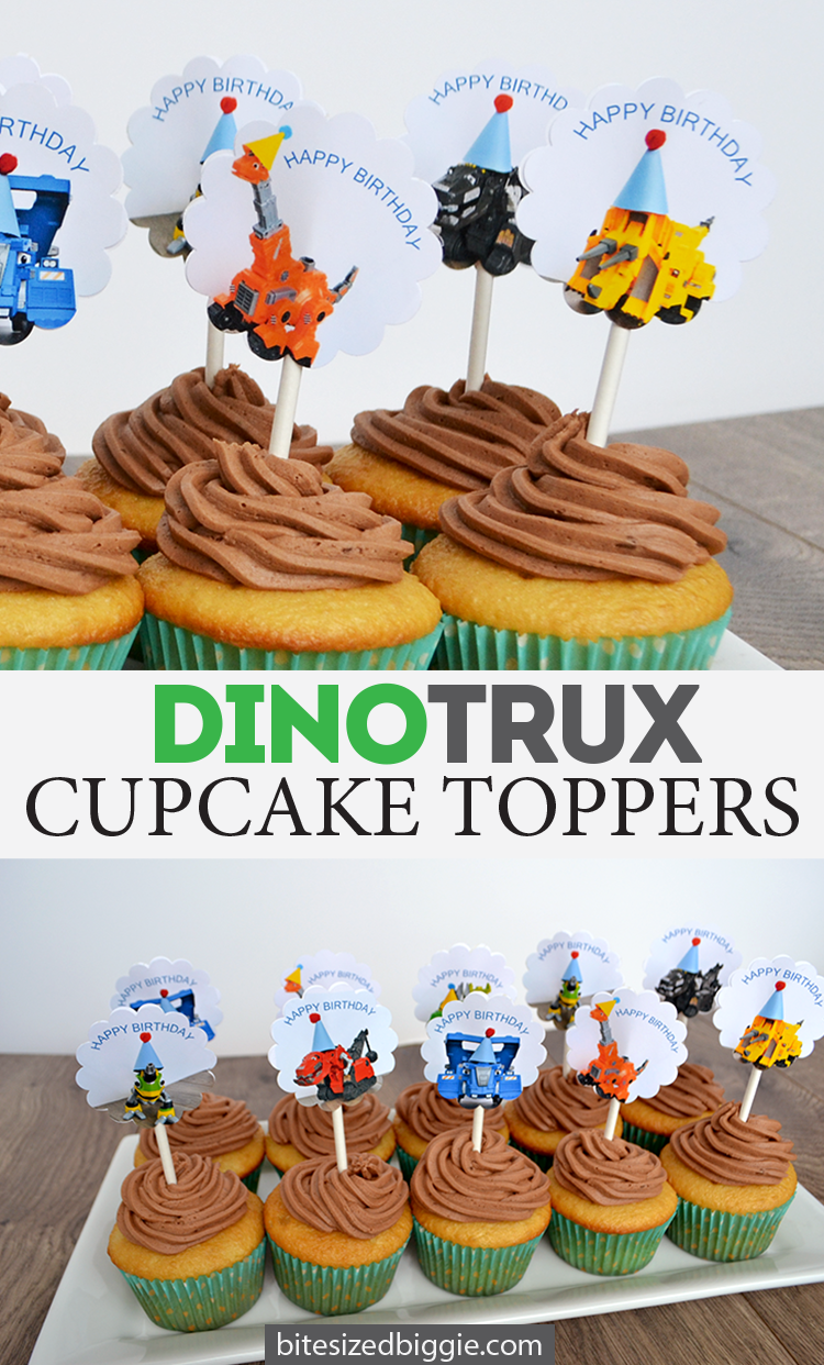 Free Dinotrux Cupcake Topper Printable With Images Birthday