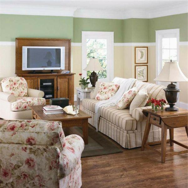 kleines wohnzimmer streichen - weiß hell grün ochra fernseher sofa - wohnzimmer ideen grun