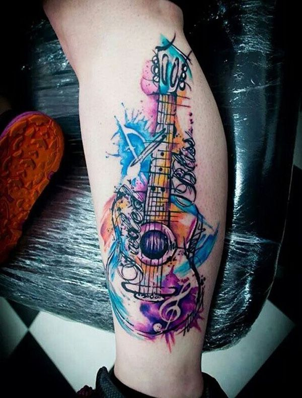 60 inspirational guitar tattoos guitar tattoo guitars for Feminine music tattoos
