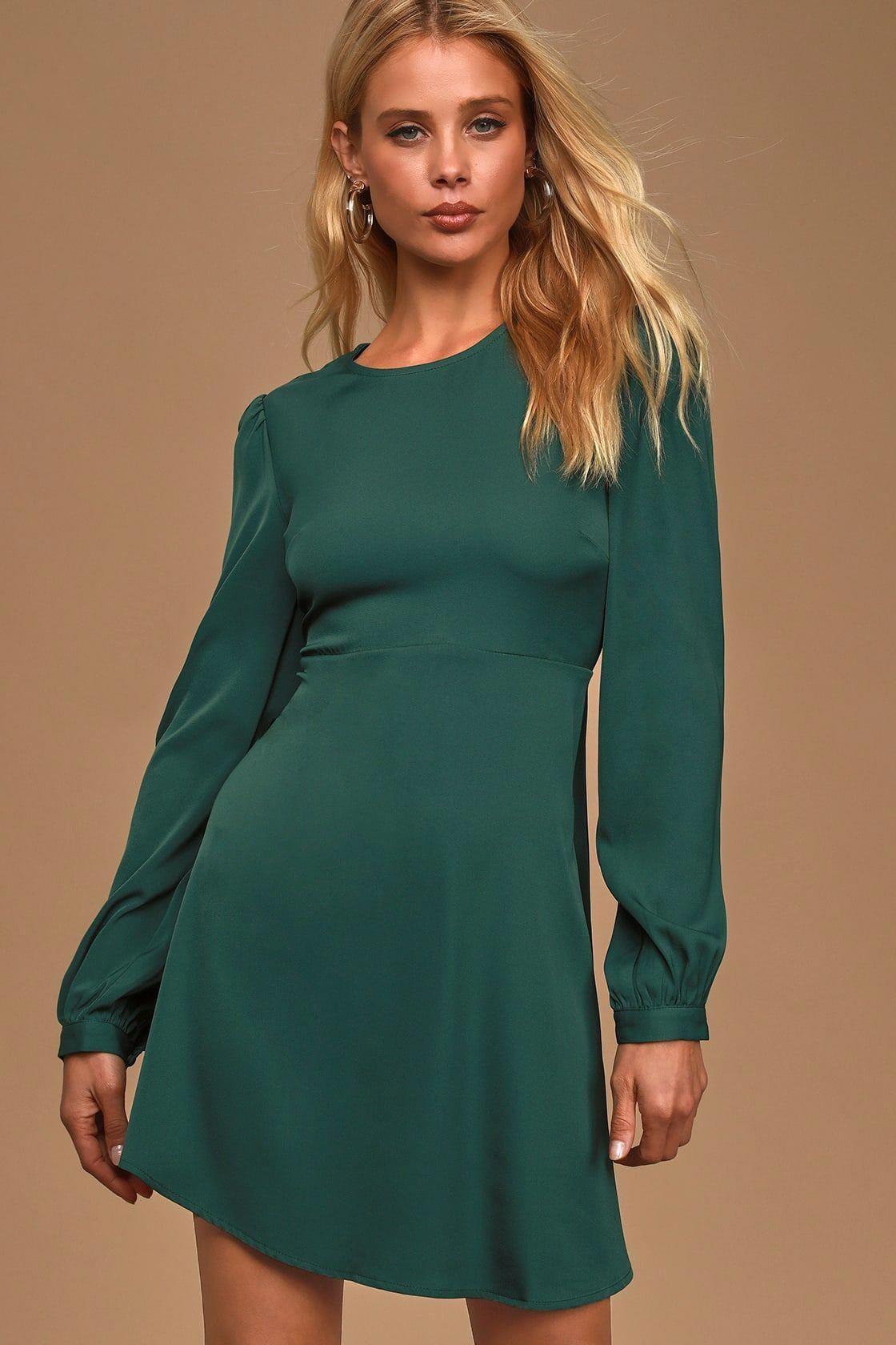 Cute Mini Dress Hunter Green Dress Long Sleeve Dress Goldhoopearringswithpearldrop Green Long Sleeve Dress Long Green Dress Long Sleeve Dress [ 1680 x 1120 Pixel ]
