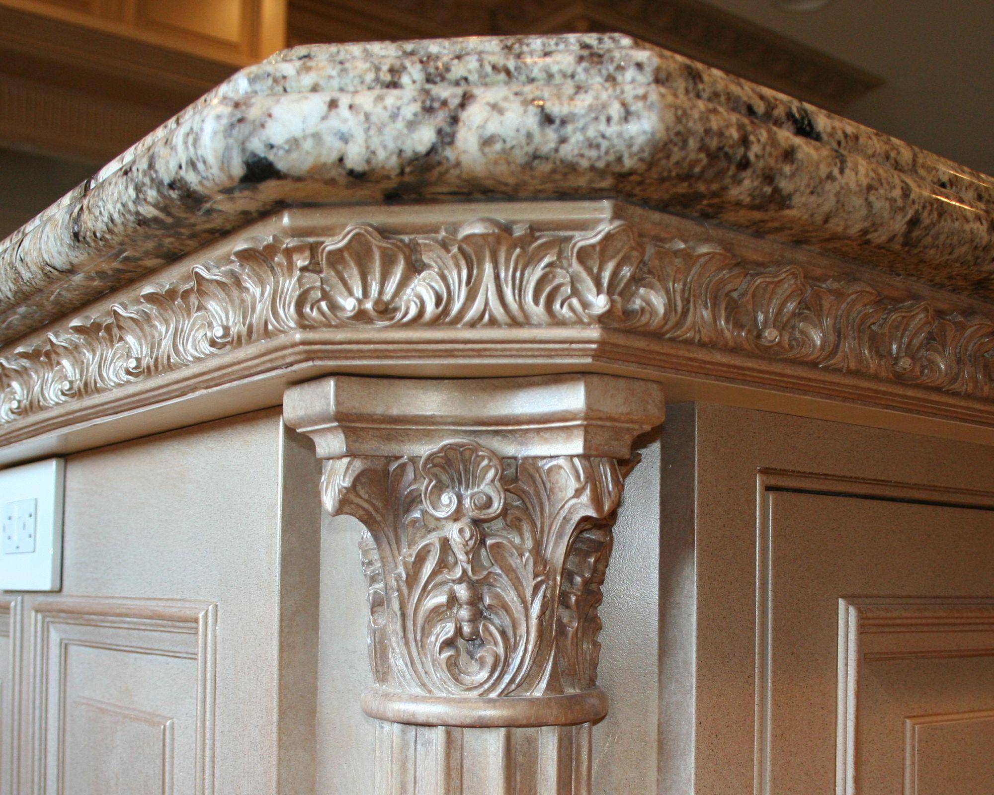 ornate kitchen cabinets | Cabinet details | Lantz Custom Woodworking ...
