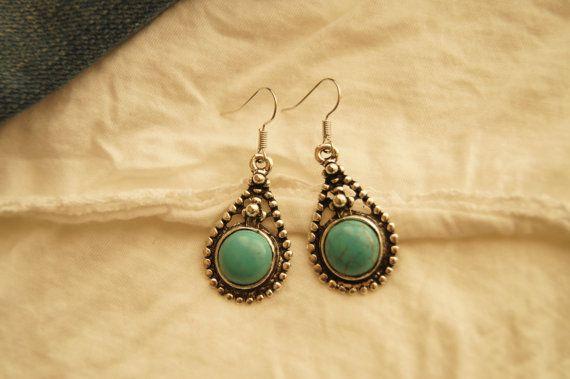 Turquoise Earrings Turquoise Jewelry Boho Earrings by Sonajewelry