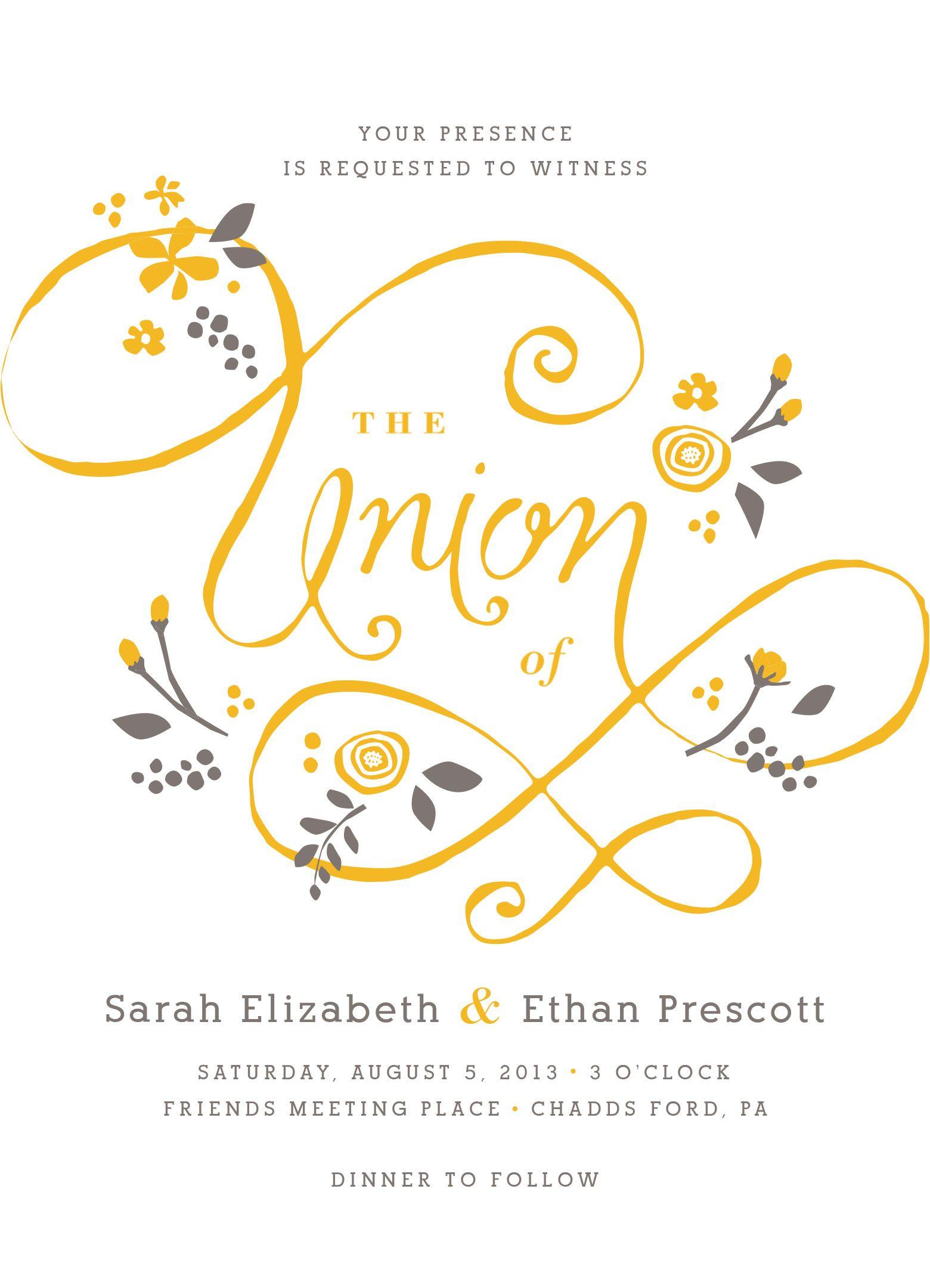 A More Perfect Union Letterpress Wedding Invitation By