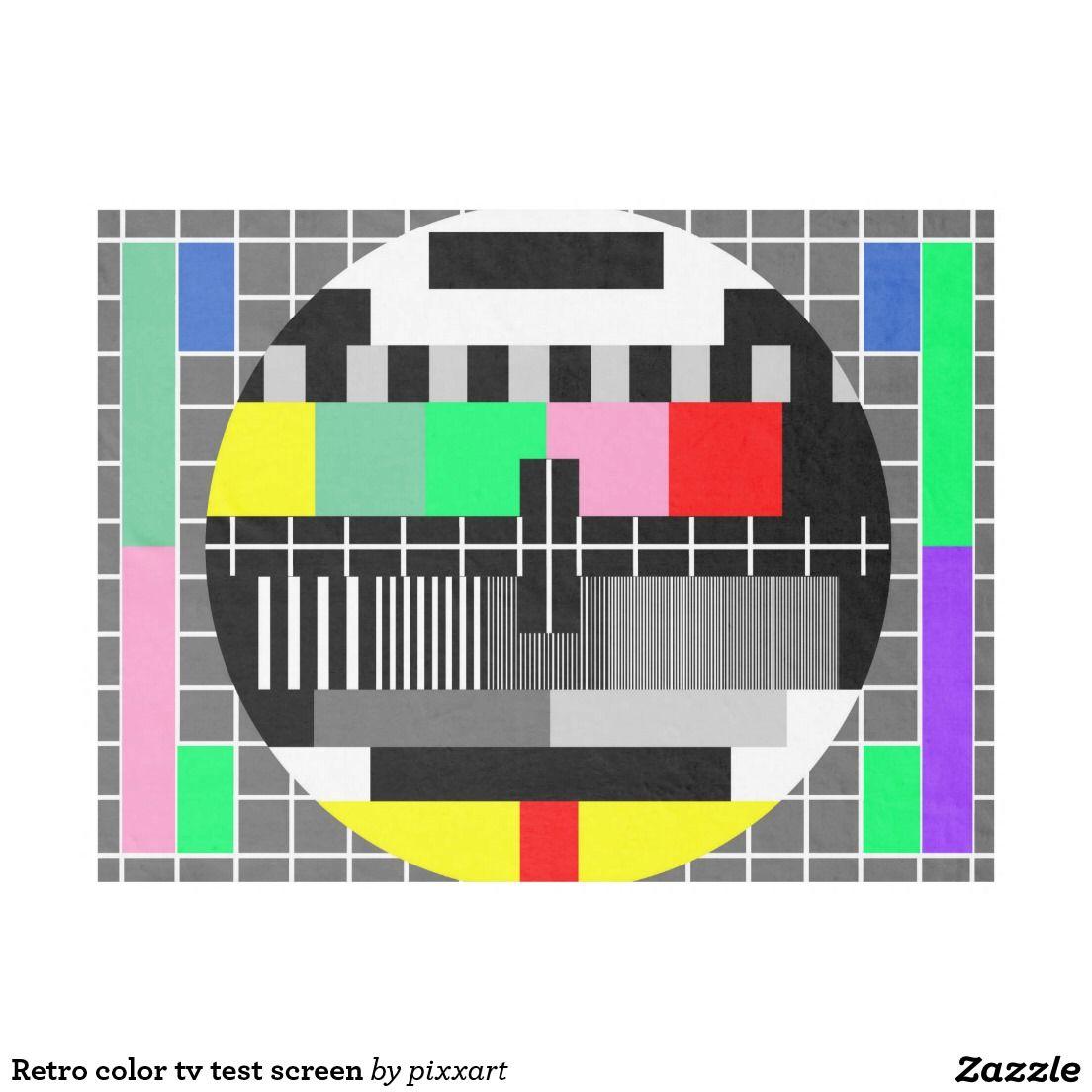 Retro color tv test screen fleece blanket fleece blankets zazzle