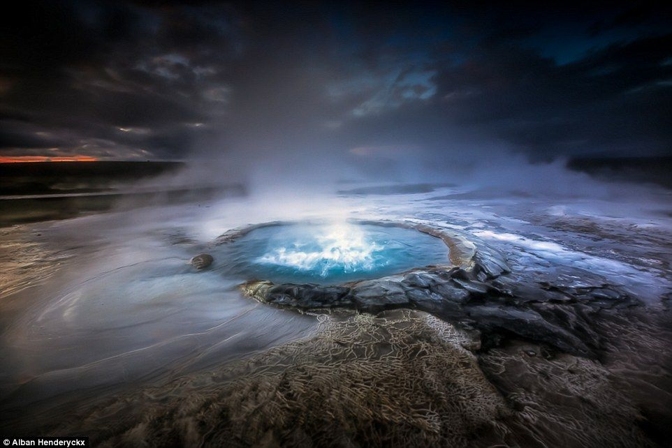 French photographer Alban Henderyckx took these pictures of highland geysers during a trip to Vatnajökull in Iceland