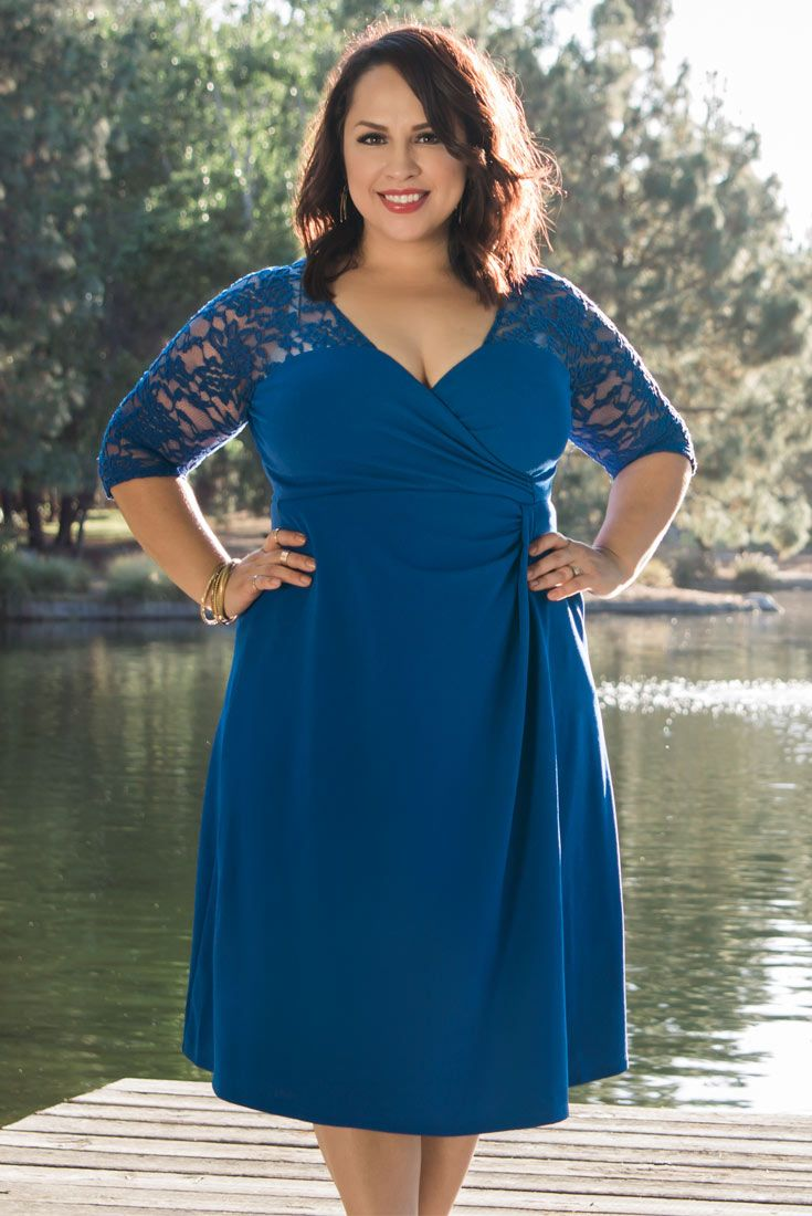 7e306f2ef8b0a Cutie Raquel looks gorgeous in our plus size Lavish Lace Dress. Shop our  entire made in the USA collection online at www.kiyonna.com.