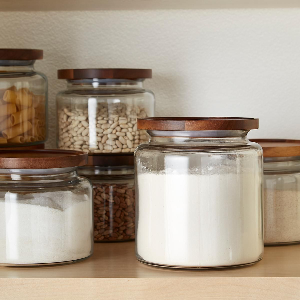 Anchor Hocking Montana Glass Canisters With Acacia Lids Glass