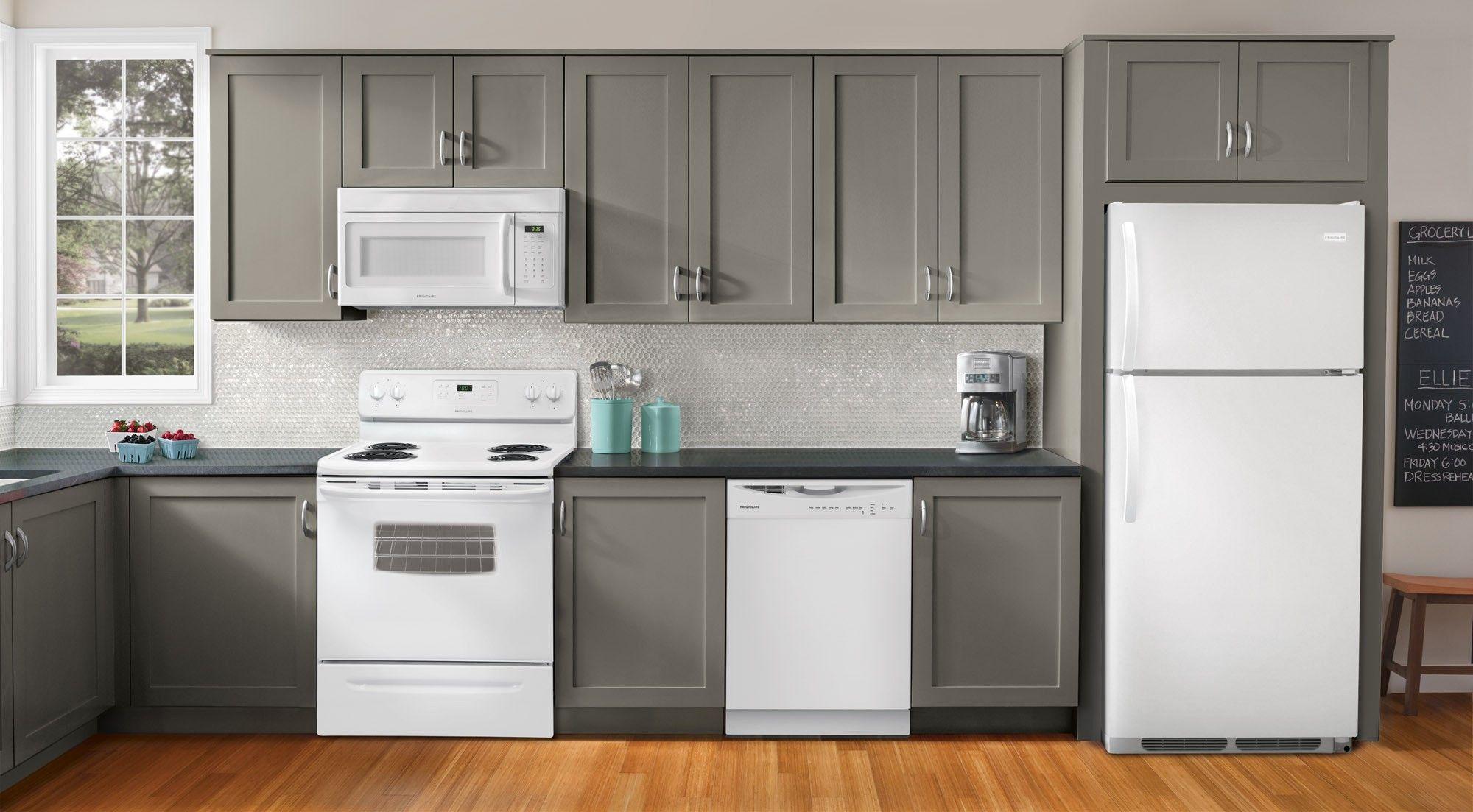White appliances, grey neutral backsplash