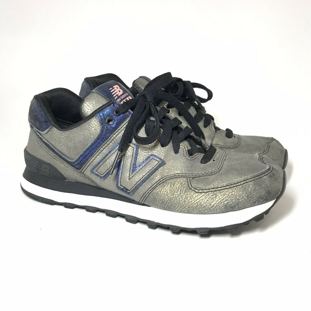 separation shoes 94b0b 53f66 New Balance 574 Womens Shoes Running Precious Metals Gold Blue Sz 8   eBay